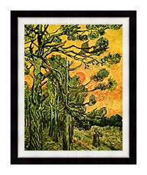 Vincent Van Gogh Pine Trees Against A Red Sky With Setting Sun canvas with modern black frame