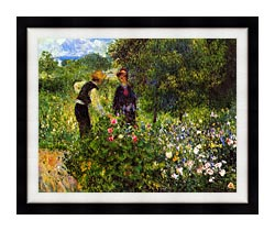 Pierre Auguste Renoir Conversation With The Gardener canvas with modern black frame