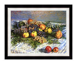 Claude Monet Pears And Grapes canvas with modern black frame