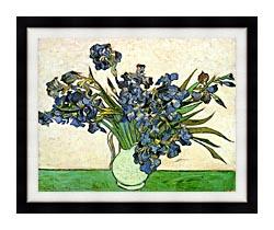 Vincent Van Gogh Still Life Vase With Irises canvas with modern black frame