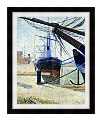 Georges Seurat The Harbor At Honfleur canvas with modern black frame