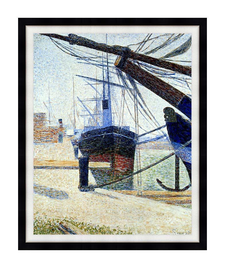 Georges Seurat The Harbor at Honfleur with Modern Black Frame