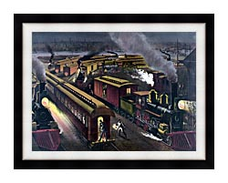 Currier And Ives Night Scene At A Railroad Junction canvas with modern black frame