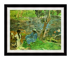 Paul Gauguin By The Pond canvas with modern black frame