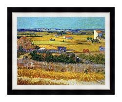 Vincent Van Gogh Harvest At La Crau canvas with modern black frame
