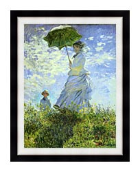 Claude Monet Woman With A Parasol canvas with modern black frame