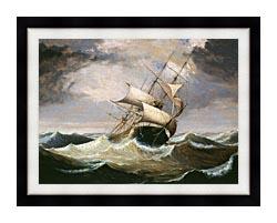 Fitz Hugh Lane Three Master On Rough Sea canvas with modern black frame