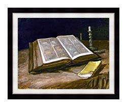 Vincent Van Gogh Still Life With Open Bible canvas with modern black frame