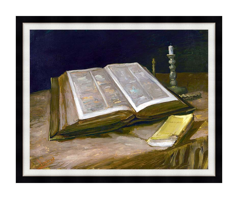 Vincent van Gogh Still Life with Open Bible with Modern Black Frame