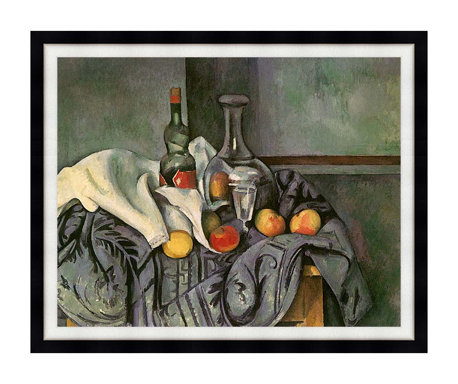 Paul Cezanne Still Life with Peppermint Bottle with Modern Black Frame