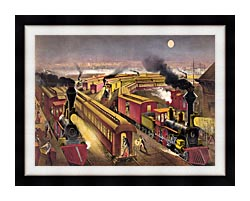 Currier And Ives Night Scene At An American Railway Junction canvas with modern black frame