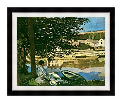 Claude Monet On The Seine At Bennecourt canvas with modern black frame