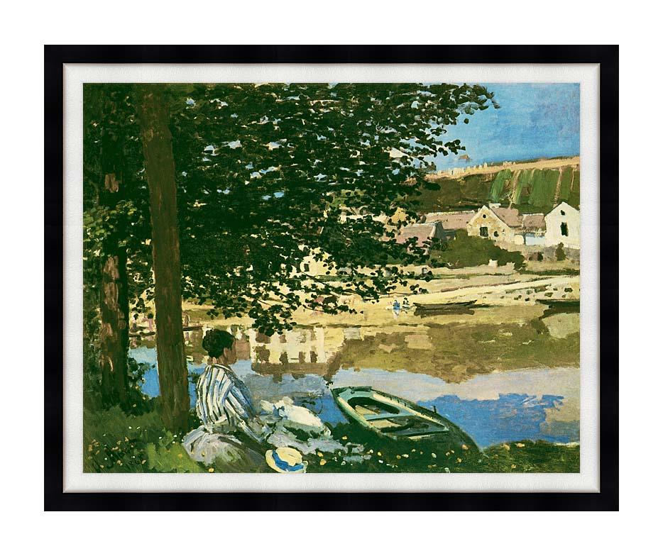 Claude Monet On the Seine at Bennecourt with Modern Black Frame