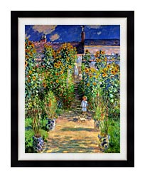 Claude Monet The Artists Garden At Vetheuil canvas with modern black frame