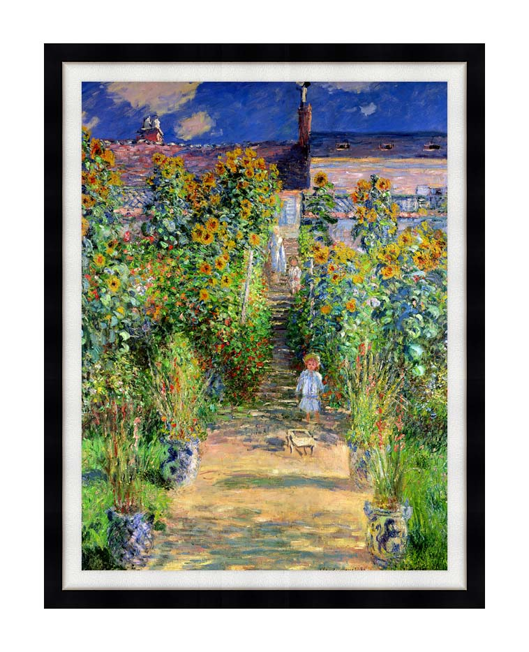Claude Monet The Artist's Garden at Vetheuil with Modern Black Frame