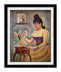 Georges Seurat Young Woman Powdering Herself canvas with modern black frame