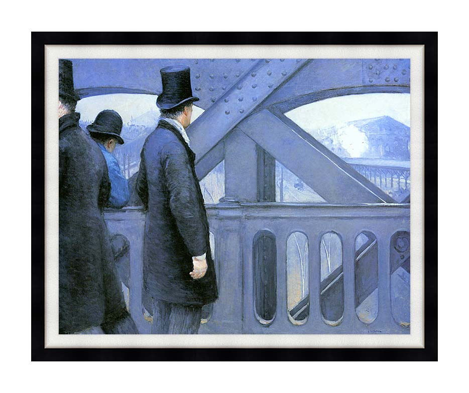 Gustave Caillebotte The Europe Bridge with Modern Black Frame