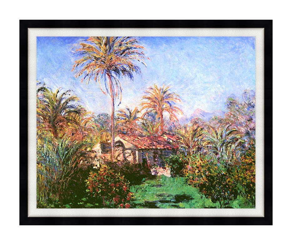 Claude Monet Palm Trees at Bordighera with Modern Black Frame