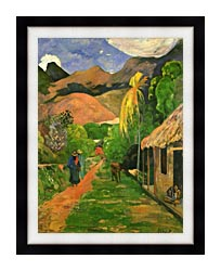 Paul Gauguin Street In Tahiti canvas with modern black frame