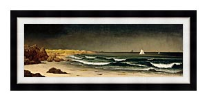 Martin Johnson Heade Approaching Storm Beach Near Newport canvas with Modern Black frame