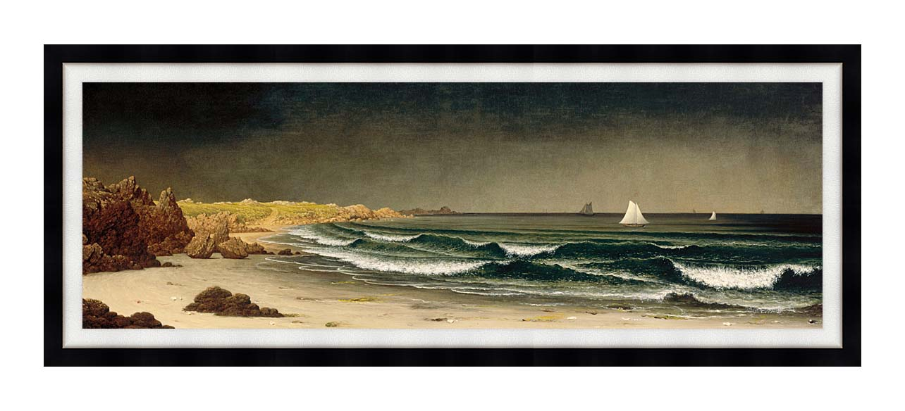 Martin Johnson Heade Approaching Storm, Beach near Newport with Modern Black Frame
