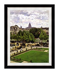 Claude Monet Garden Of The Princess Louvre canvas with modern black frame