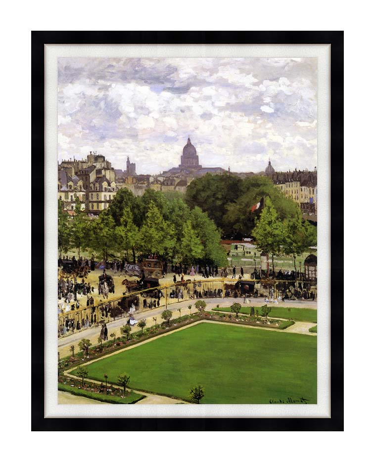 Claude Monet Garden of the Princess, Louvre with Modern Black Frame