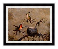 Martin Johnson Heade Hummingbirds And Their Nest canvas with modern black frame