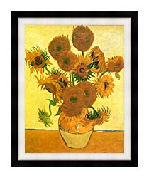 Vincent Van Gogh Still Life Vase With Fourteen Sunflowers canvas with modern black frame