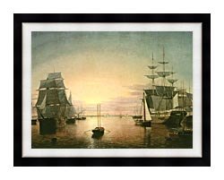 Fitz Hugh Lane Boston Harbor At Sunset canvas with modern black frame