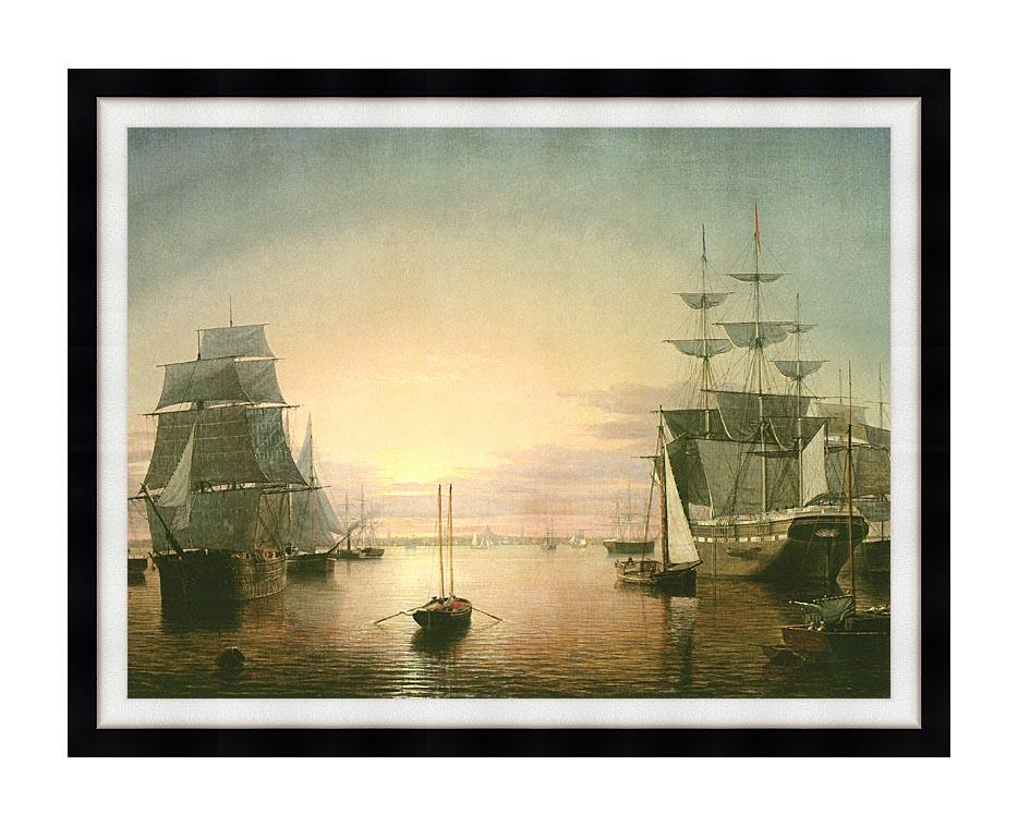 Fitz Hugh Lane Boston Harbor at Sunset with Modern Black Frame