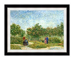 Vincent Van Gogh Courting Couples In A Public Park In Asnieres canvas with modern black frame