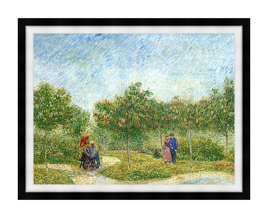 Vincent van Gogh Courting Couples in a Public Park in Asnieres with Modern Black Frame