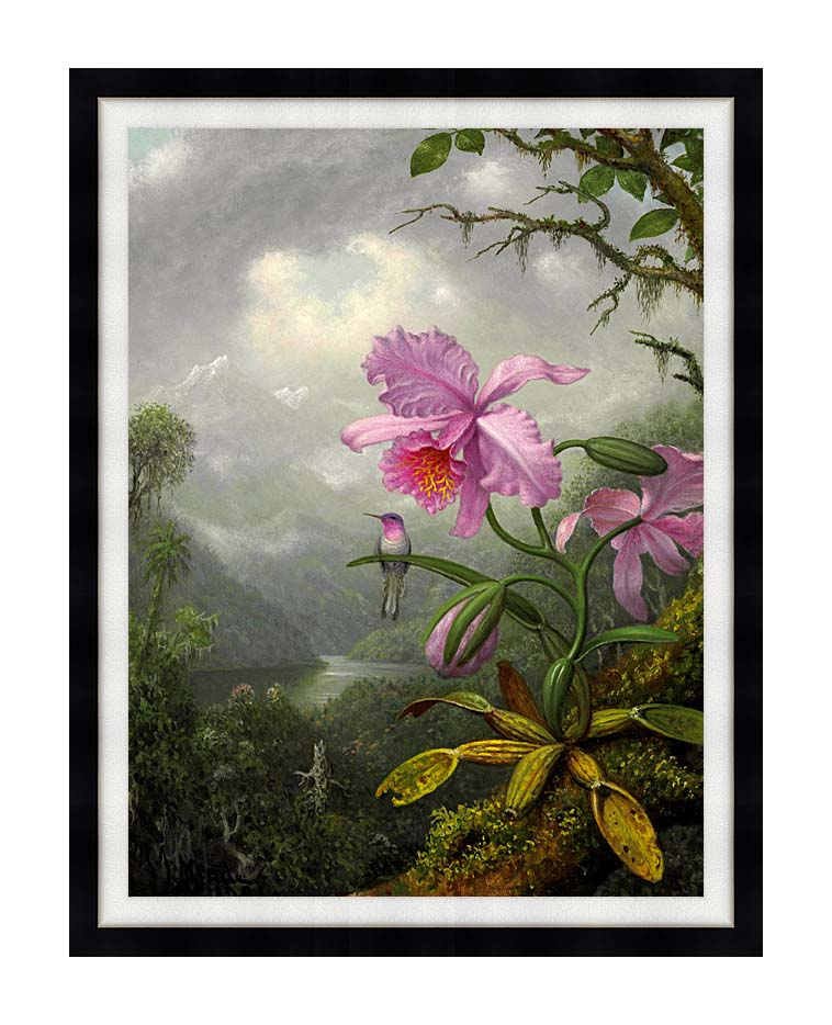Martin Johnson Heade Hummingbird Perched on the Orchid Plant with Modern Black Frame
