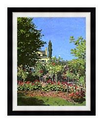 Claude Monet Garden In Bloom canvas with modern black frame