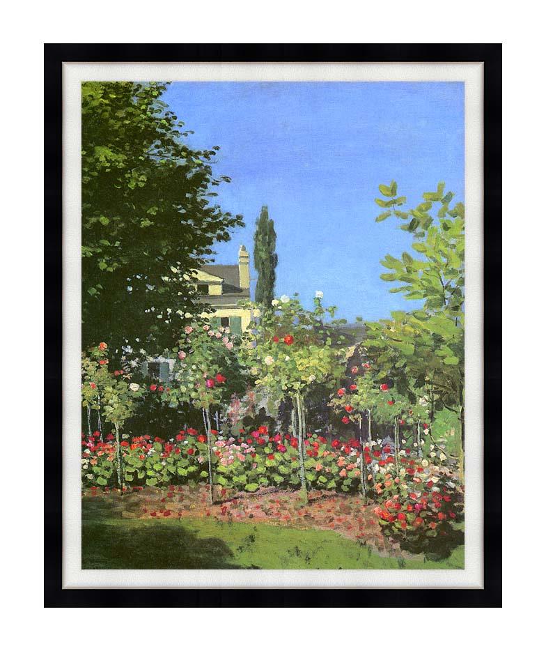 Claude Monet Garden in Bloom with Modern Black Frame