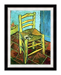 Vincent Van Gogh Vincents Chair With His Pipe canvas with modern black frame