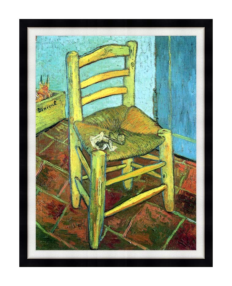 Vincent van Gogh Vincent's Chair with His Pipe with Modern Black Frame