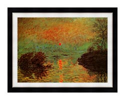 Claude Monet Sunset On The Seine At Lavacourt Winter Effect canvas with modern black frame