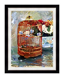 Berthe Morisot The Cage canvas with modern black frame