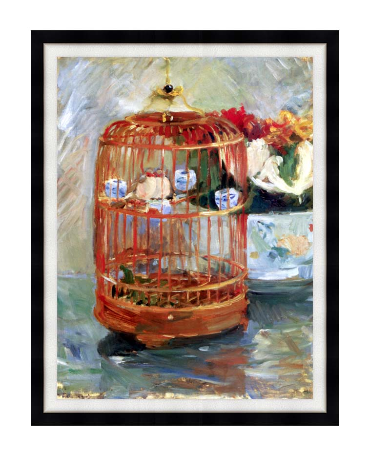 Berthe Morisot The Cage with Modern Black Frame