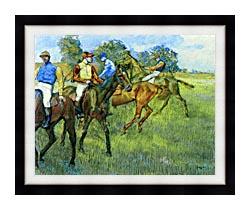 Edgar Degas Race Horses canvas with modern black frame