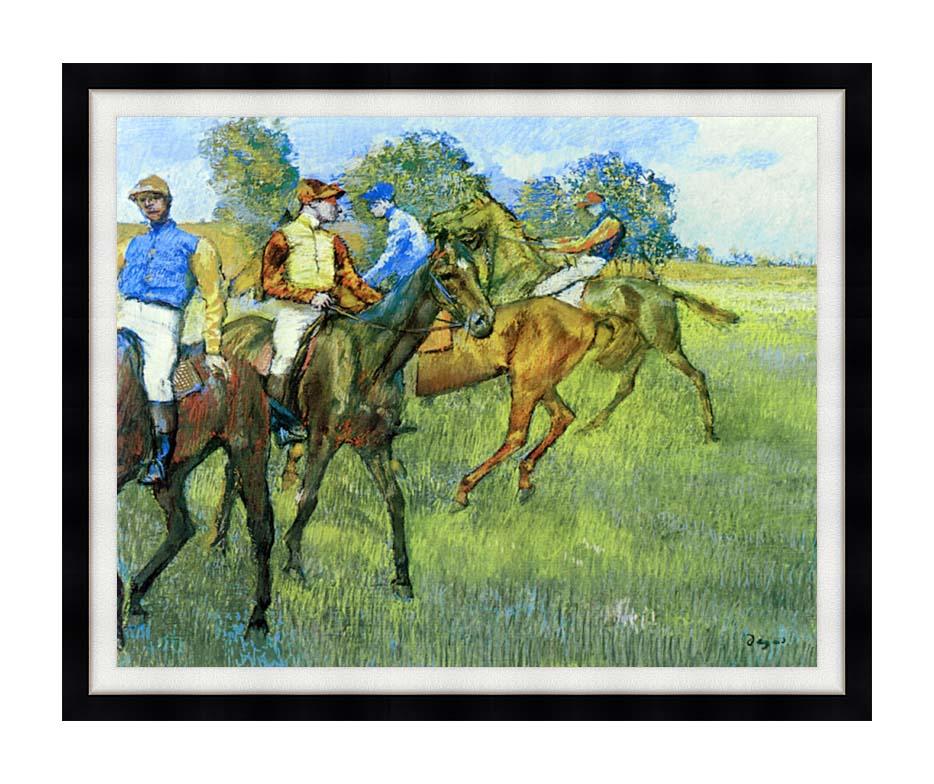 Edgar Degas Race Horses with Modern Black Frame