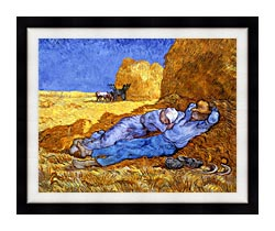 Vincent Van Gogh Noon Rest From Work canvas with modern black frame