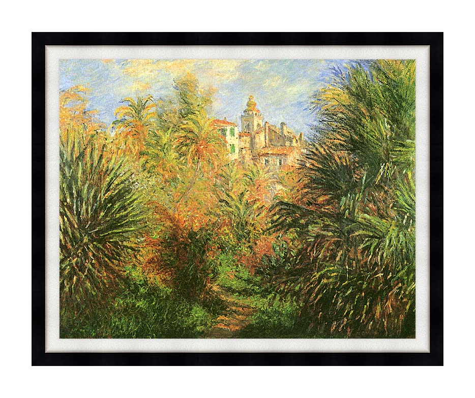 Claude Monet Gardens at Bordighera with Modern Black Frame