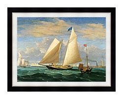 Fitz Hugh Lane The Yacht America Winning The International Race canvas with modern black frame