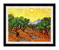 Vincent Van Gogh Olive Trees With Yellow Sky And Sun canvas with modern black frame