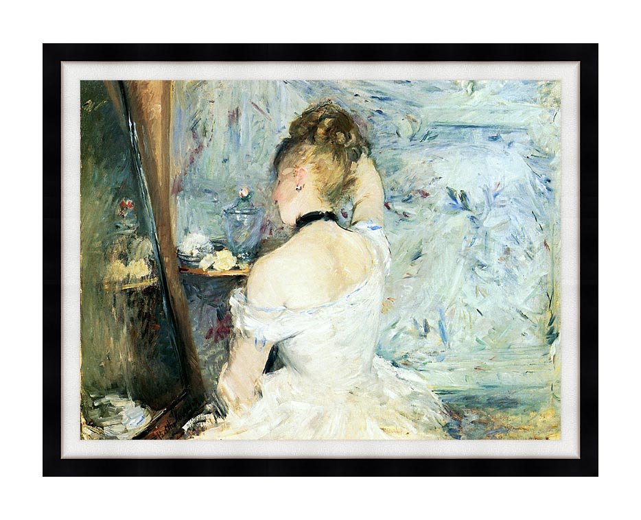 Berthe Morisot Lady at Her Toilette with Modern Black Frame