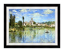 Claude Monet Vetheuil In Summer canvas with modern black frame