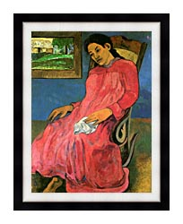 Paul Gauguin The Dreamer canvas with modern black frame